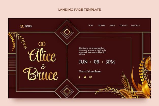 Реалистичная роскошная золотая свадебная целевая страница