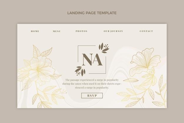 Realistic luxury golden wedding landing page