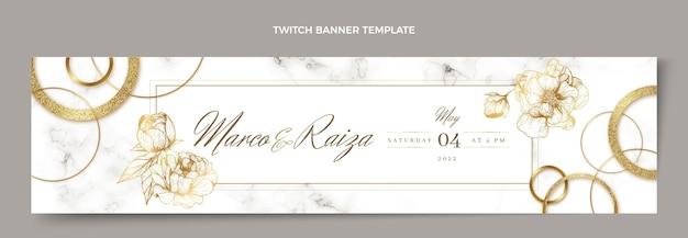 Banner di contrazione di nozze d'oro di lusso realistico