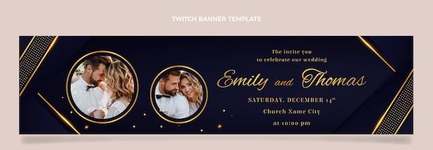 リアルな豪華な黄金の結婚式のけいれんバナー