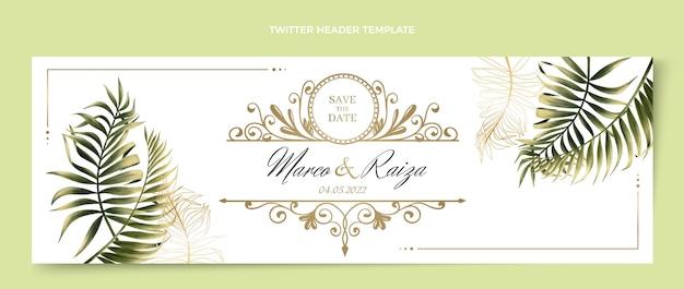 Realistic luxury golden wedding twitter header