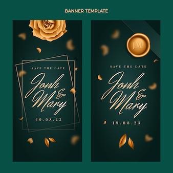Set di banner verticali di nozze d'oro di lusso realistico