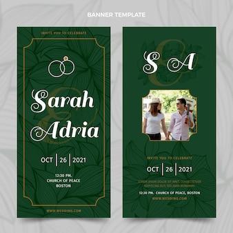 Banner verticali di nozze d'oro di lusso realistico