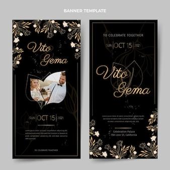 Realistic luxury golden wedding vertical banners