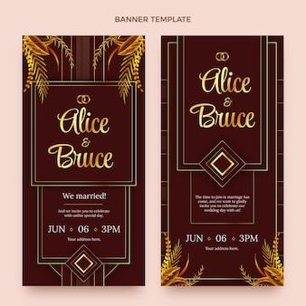 Реалистичные роскошные золотые свадебные вертикальные баннеры