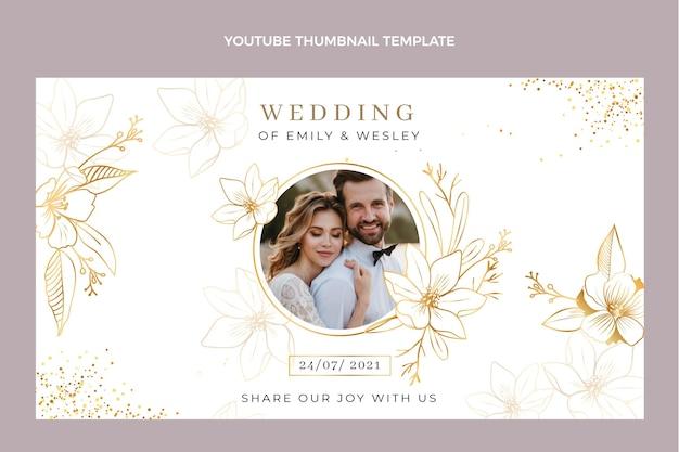 Realistic luxury golden wedding youtube thumbnail