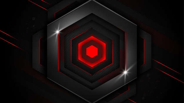 Realistic luxury hexagonal black metal background with red light lines dark and gray geometric shape