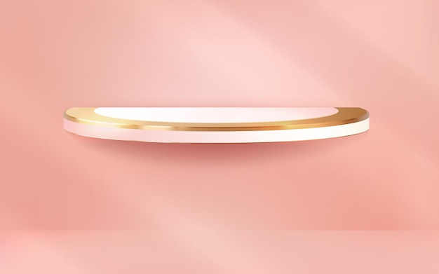 Realistic luxury podium on pink pastel wall background for display product