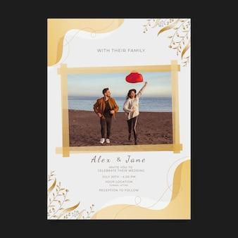 写真付きのリアルな豪華な結婚式の招待状