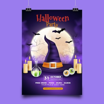 Realistic made halloween party poster template