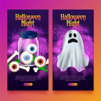 Realistic made halloween vertical banners