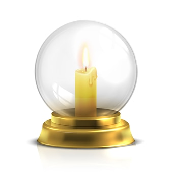 Realistic magic ball with light candle isolated on white