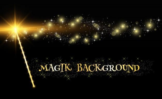 투명한 배경에 밝은 반짝임으로 현실적인 마술 지팡이.
