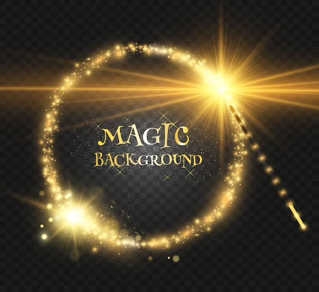 Realistic magic wand with bright sparkles on a transparent background.