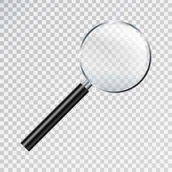 Realistic  magnifier glass on the transparent background. concept of research and science.