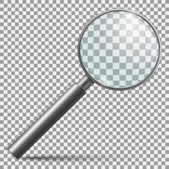 Realistic magnifier. magnifying glass lens or zooming loupe silver handle instrument isolated
