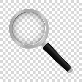 Realistic magnifier on transparent