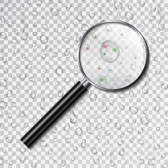 Реалистичные увеличительное стекло и капли воды на прозрачном фоне. концепция загрязнения воды, загрязнения, научные исследования бактерий и очистки воды.