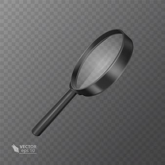 透明に黒のリアルな拡大鏡。