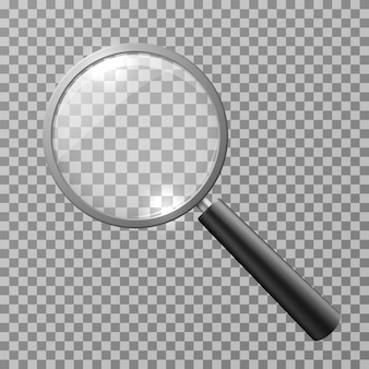 Realistic magnifying glass isolated