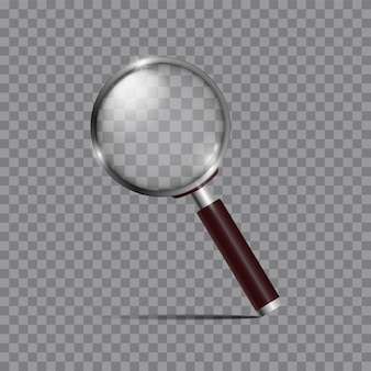 Realistic magnifying glass, magnifier or hand lens for optical magnification isolated. modern design element.