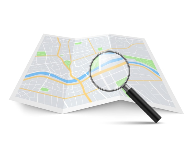 Realistic magnifying glass and map. magnification zoom street search urban landscape, searching location on geography brochure find direction in city navigation concept vector 3d isolated illustration