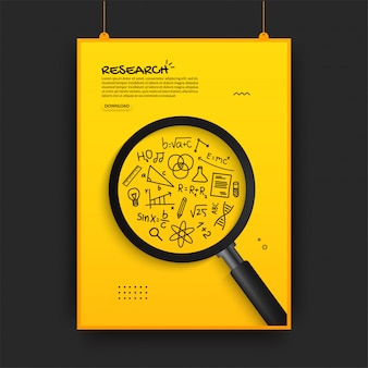 Realistic magnifying glass searching on outline icons, back to school poster