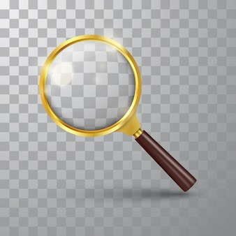 Realistic magnifying glass on a transparent background.