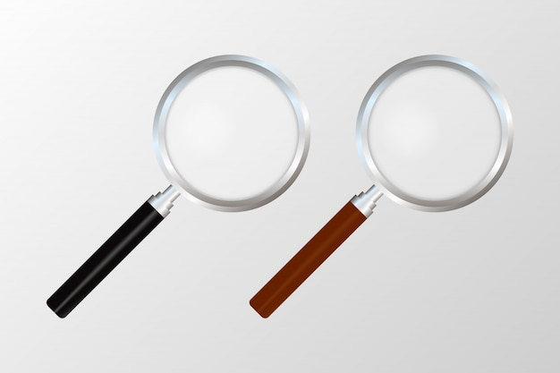Realistic magnifying glass on transparent