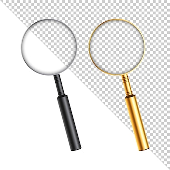 Realistic magnifying glass with shadow on a transparent background