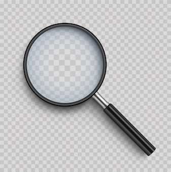 Realistic magnifying glass with shadow on transparent
