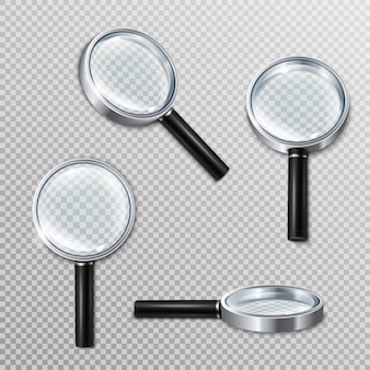Realistic magnifying glasses set
