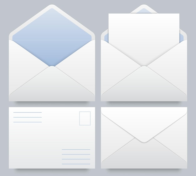 リアルなメール封筒のモックアップ。メッセージはがき、レターヘッドの白紙のモックアップ、封筒にドキュメント、ベクトルイラスト