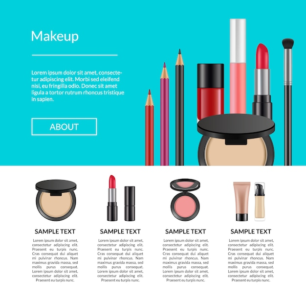 Realistic makeup elements banner