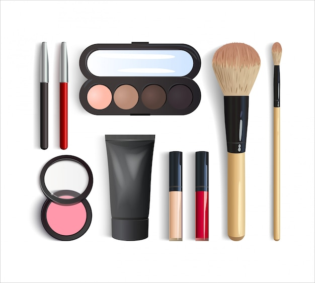 Realistic makeup products set. 3d eyeshadow palette, lipstick, blush, foundation, lip and eye pencils, brushes. decorative cosmetic product top view isolated on white background.  illustration