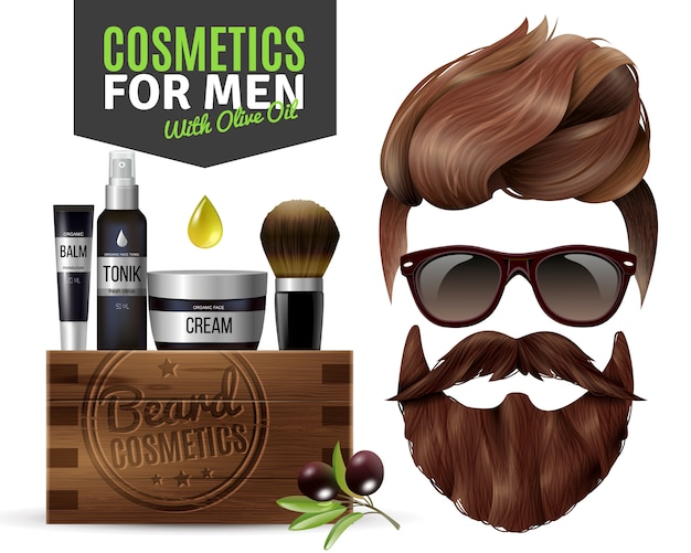 Realistic male cosmetics poster
