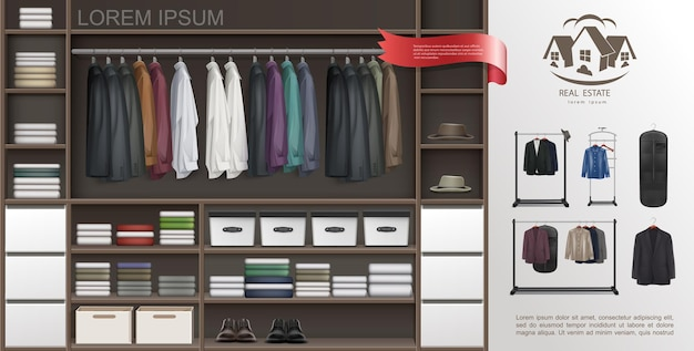 Realistic male wardrobe room modern concept with shirts on hangers suits t-shirts fedora hats leather shoes shelves and boxes for accessories