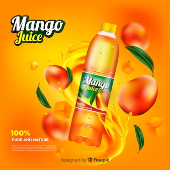 Realistic mango juice ad template