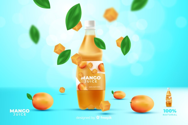 Realistic mango juice advertisement