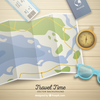 Realistic map with travel elements