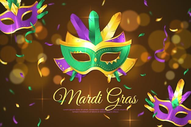 Realistic mardi gras background