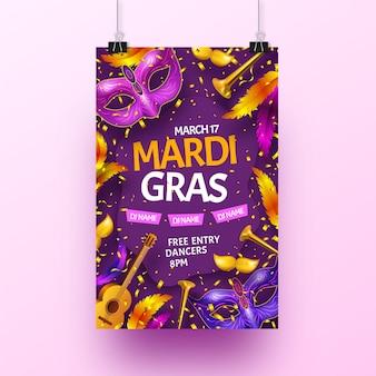 Realistic mardi gras flyer template concept