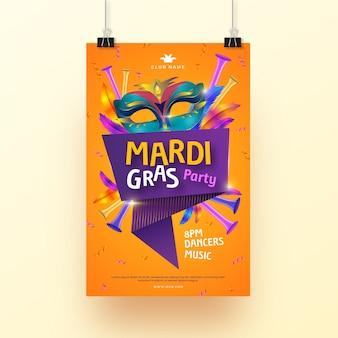Realistic mardi gras flyer template design