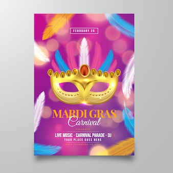 Realistic mardi gras flyer template