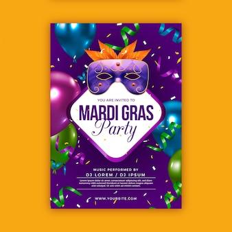 Modello di poster realistico mardi gras Vettore gratuito