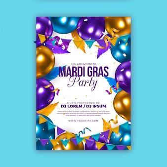 Modello di poster realistico mardi gras
