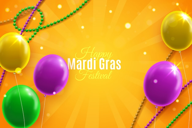 Realistic mardi gras with balloons
