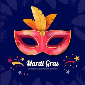Realistic mardi gras with colorful mask