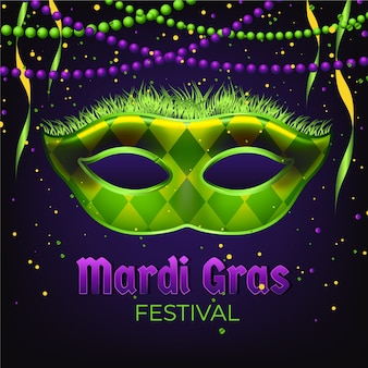 Realistic mardi gras with mask and beads
