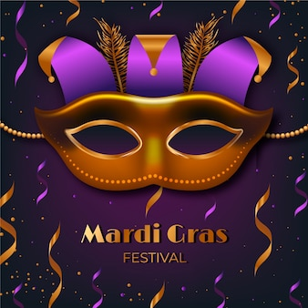 Realistic mardi gras with mask and confetti